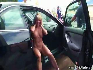 Chick Naked As Car Goes Through Carwash