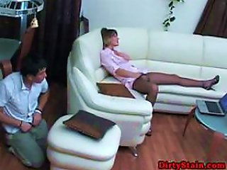 Teen Fucks A Horny Milf In Pantyhose After  Her